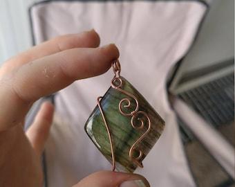 Copper Wire Wrapped Labradorite Necklace
