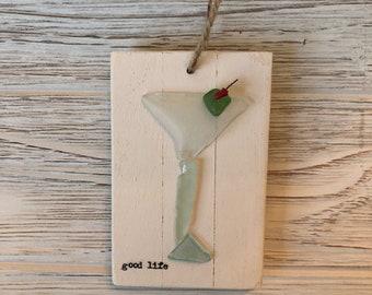 Sea Glass Martini Glass