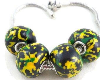 Large european style bracelet beads yellow, black and green polymer clay