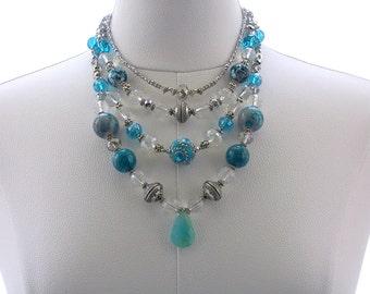 Multi strand Necklace, Rock Crystal Necklace, Chalcedony Gemstone Necklace, Fashion jewelry, Beaded necklace