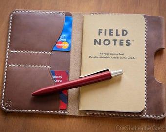 "Field Notes wallet with pen sleeve ""Park Sloper Senior"" Horween Chromexcel leather - natural CXL"