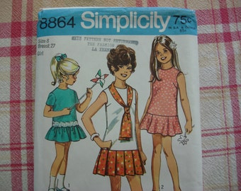 1970 Simplicity Girls Dress Pattern #8864, Uncut, Size 8, Flared or Pleated Skirt, Cute Girls Dress Pattern, Retro Vintage Fashion ~