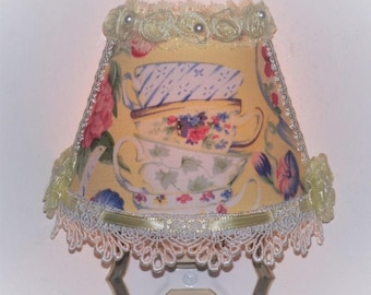Sunny Yellow Floral Stacked Teacups Night Light with Strawberries Lace and Ribbon