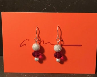 Red Swarovski Crystal and Sterling Earrings