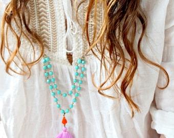 Aqua Bead Strand and Tassel Necklace, Lilac Tassel Necklace, Boho Long Necklace
