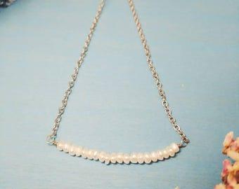 Pearl minimalist dainty Necklace - June Birthstone Necklace