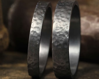 Hand Forged Wedding Ring Set Oxidized, Blackened over 925 Sterling Silver, Hammered Matching His & Hers Thick Wedding Bands - FREE Engraving