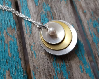 Silver and Gold Necklace- Silver, Gold, and Pearl Curved Pendant on your choice of chain