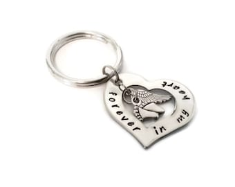 "Baby Memorial Key chain, sympathy gift ""forever in my heart"" with baby feet and angel wing charms, miscarriage or lost child sympathy"