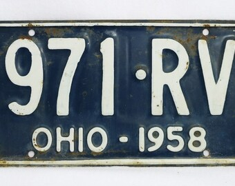 Vintage 1958 License Plate Ohio Hot Rod Muscle Car Historical Vehicle Garage 58