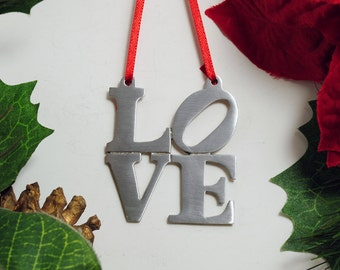 LOVE Ornament Love Park Philadelphia Ornament Fine Pewter Christmas
