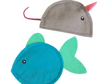 Wool felt catnip toys, Fish & Mouse - stuffed with our all-natural homegrown catnip, guaranteed fun!