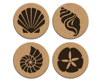 SEASHELLS SAND DOLLAR Nautical Coastal Cork Coaster Set Of 4 Home Decor Barware Decoration