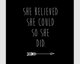 She Believed She Could So She Did || Children's Art, Nursery Art, Art Print