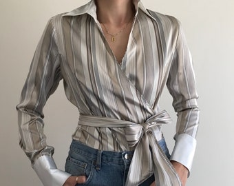 90's Liquid Satin Stripe Wrap Blouse with Contrast White Wide Collar and Cuffs