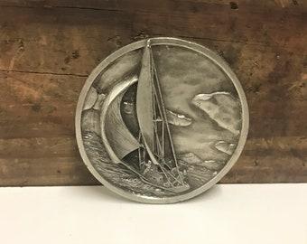 1977 Nautical Belt Buckle by Bergamot Brass Works, Vintage Sailing Belt Buckle, Sailors Gift, Sailboat Belt Buckle