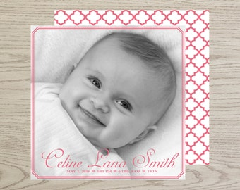 Celine Birth Announcement, square, baby girl announcement, full bleed, newborn announcement, printable birth, digital birth announcement