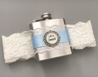 Blue Wedding Garter with Flask, Light Blue  & Ivory Bridal Garter, Flask Garter, Something Blue Garter, Personalized FLASK GARTER