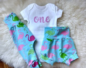 Flamingo Harem Pants, Leggings, Shorts, and Top Knot Hat - Rainbow Baby, Newborn gift, Take home outfit,