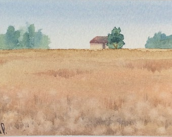 Original watercolor ACEO painting - Lush field
