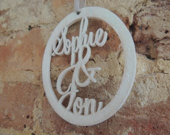 Double name personalised christmas hanging decoration