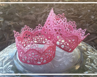 Lace crowns, baby crowns, ombre baby lace crown, cake topper, baby shower decor, baby girl, baby accessories, baby shower gift, pink crown