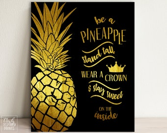 Captivating Pineapple Art   Pineapple Quote   Pineapple Printable   Pineapple Home Decor    Pineapple Gold And
