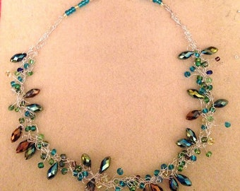 Beaded wire crochet necklace, crystal faceted drop beads, silver wire, seed beads