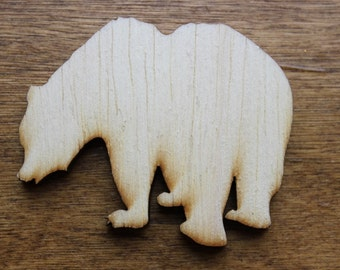 Grizzly Bear Sign Wooden Cutouts - Shapes for Projects or Other Use