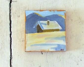house snow winter mini oil painting  impressionist small art tiny decoration