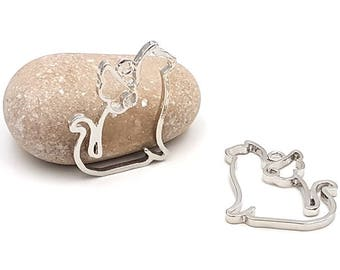 5 sitting cat charm 35mm silver creations in resin