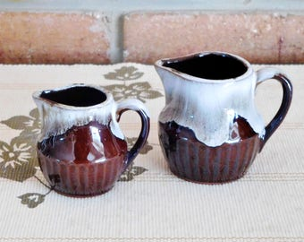 1970s terracotta drip glaze measuring jugs, 1/8 and 1/4 cup capacity, rare