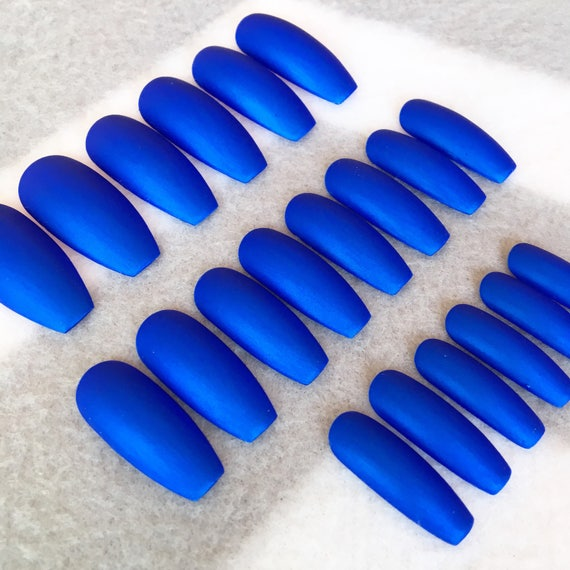 Blue Fake Nails * Faux Nails * Glue On Nails * Blue Nails * Ocean ...