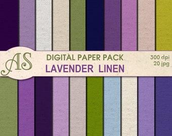 Digital Lavender Color Linen Paper Pack, 20 printable Digital Scrapbooking papers, floral Fabric Digital Collage, Instant Download, set 88