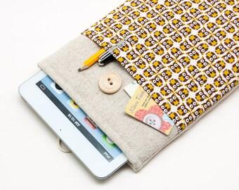 30% OFF SALE Small Owls Pattern iPad Mini 4 Case with button closure. Padded Cover for iPad Mini 1 2 3 4. iPad Mini Sleeve Bag.