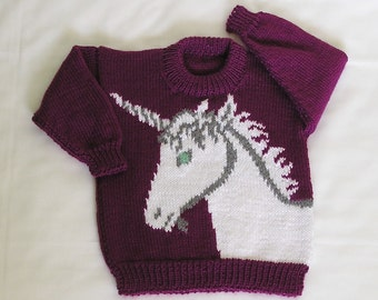 Kids Unicorn Sweater MADE TO ORDER Childrens Unicorn Pullover, Toddler Jumper Hand Knitted. Custom Color & Size