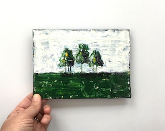 And Then There Were 3 ~ Original Acrylic Palette Knife Painting on 5x7 Canvas Panel