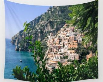 Positano Italy Wall Tapestry, Amalfi Coast Wall Art, Photo Tapestry Wall Decor, Positano, Living Room Wall Art, Dorm, Travel Art