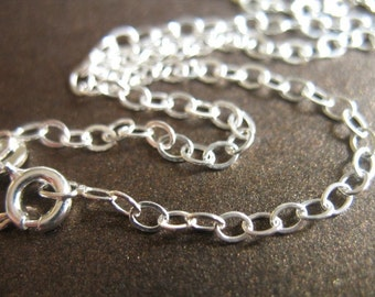 "1 pc, 30"" inch, Sterling Silver Chain - FINISHED Chain, Flat Cable, 3.5x2.5 mm, medium weight solo d44.30 hp"