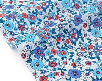Fabric floral soft cotton Poplin blue x 50cm