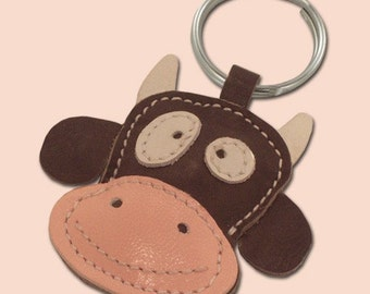 Cute little brown cow animal leather keychain