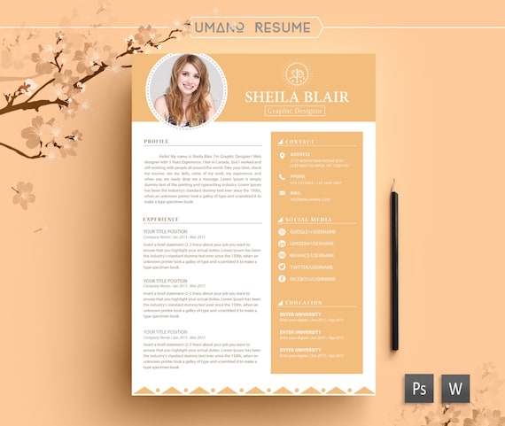 Genial Resume Template + Free Cover Letter For Word | AI | PSD | DIY Printable 3  Pack | The Sheila | Professional And Creative Design