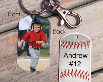 PHOTO KEY CHAIN - photo key tag - baseball key chain - Baseball Mom - custom baseball key chain - baseball photo - baseball gift