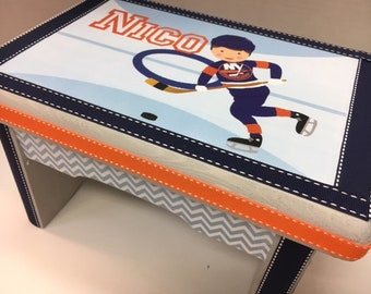 Little Boy's Bench- NY Islanders Hockey Theme--Great Newborn or 1st Birthday Gift