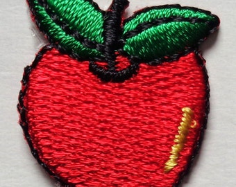 Embroidered Iron-On Applique Apple, 1 inch