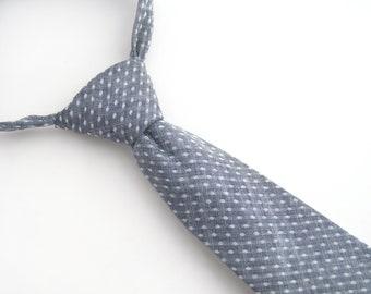 Chambray Dot tie, grey dot tie, chambray tie, child's necktie, boy's grey tie, grey chambray tie, grey necktie, gray dot tie, kid's tie,