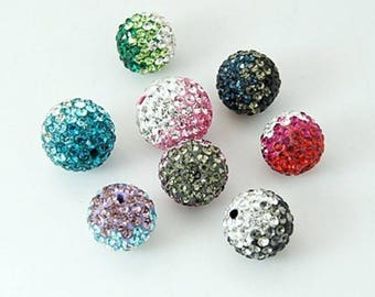 bead faceted shamballa gradient dark pink, fuschia, 10mm rhinestone.