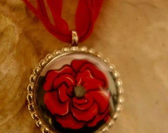 Red and black Flower necklace