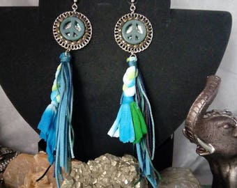 A pair of earrings ethnic TURQUOISE love and peace