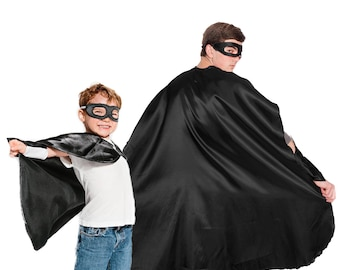 Black Superhero Cape, Kid and Adult Superhero Cape, Superhero Party Cape,